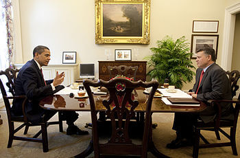 English: President Barack Obama is seen having...