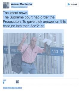 Mordechai Vanunu latest news TWEET