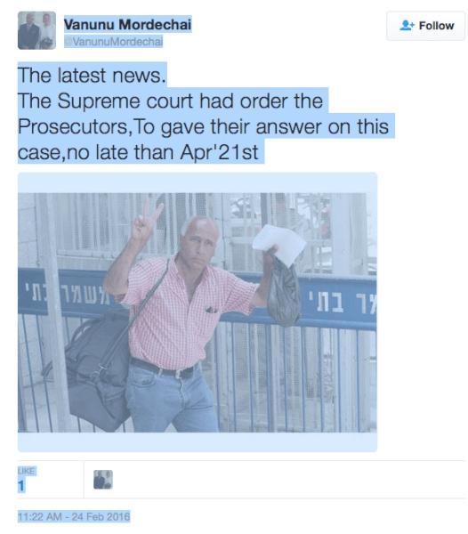 Mordechai Vanunu Reports Latest News at Twitter