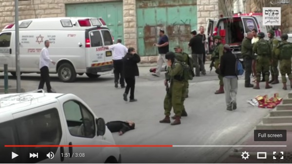Screen shot from B'Tselem video of Israeli soldier killing a Palestinian suspect who was lying on the ground injured. The Palestinian was suspected in an attack against Israeli settler terrorists and was then killed in cold blood without trial or justice.