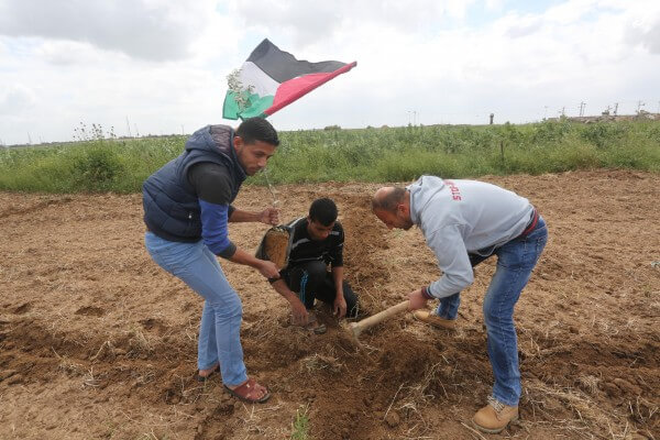 Palestinians celebrate Land Day in the Gaza Strip, planting trees to symbolize the Palestinainr efusal to surrender to Israel war crimes, apartheid and aggression. Copyright (C) 2016 Mohammed Asad. All Rights reserved. Photos may be reproduced with proper credit to Mohammed Asad and the Arab Daily News