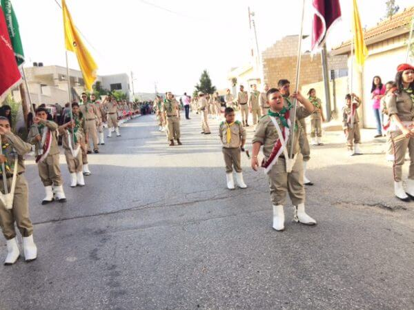 Almost 100 Taybeh Scouts marched in Ramallah from Taybeh to bring the Holy Fire to Taybeh