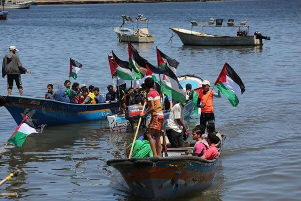Palestinians commemorate the 6th Anniversary of the Israeli terrorist attack against non-violent civilian protestors aboard the Mavi Marmara during ceremonies in the Gaza Strip, May 30, 2016. Photos Copyright Mohammed Asad 2016, All Rights Reserved.