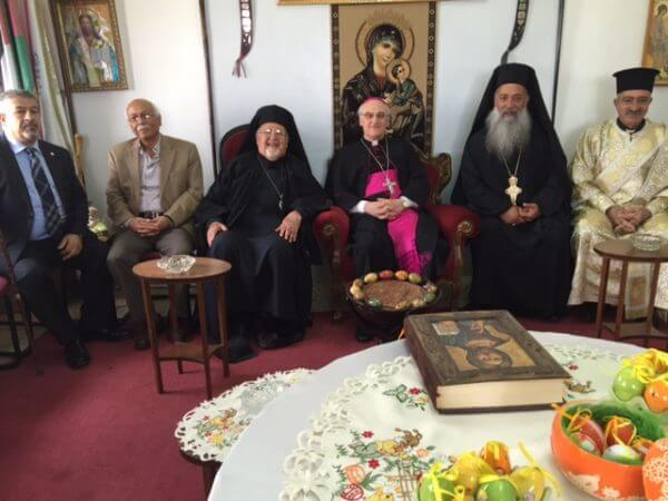 Archimandrite Jack-Nobel, the Taybeh parish priest of St. George Great Martyr Church of the Greek Melkite Catholic Patriarchate celebrates the Great feast of St. George today with His Excellency Archbishop Yousef Jules Zerey, Archbishop of Damiat & the General Patriarchal Vicar in Jerusalem. Photo courtesy Dr. Maria Khoury