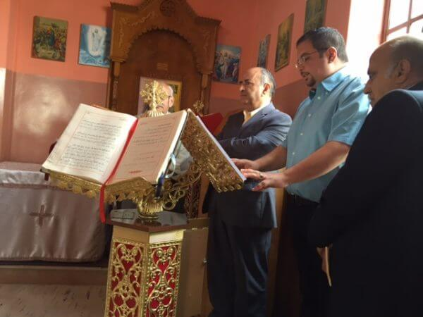 """The glorious voice of Jack Rabah chanting Holy Pascha Hymns in honor of St. George Great Martyr celebrated in Taybeh, May 6, 2016. It is a tradition to hear Jack chant the special words of St. George in Taybeh every year. He has an amazing voice! Troparion to Saint George. """"SINCE thou art a liberator and deliverer of captives, a help and succour of the poor and needy, a healing physician of the sick, a contender and fighter for kings, O great among Martyrs, the victory-clad George; intercede with Christ God for the salvation of our souls."""" Photo courtesy of Dr. Maria Khoury"""