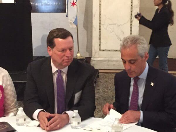 49th Ward Alderman Joseph Moore and Chicago Mayor Rahm Emanuel at Iftar dinner Tuesday June 28, 2016