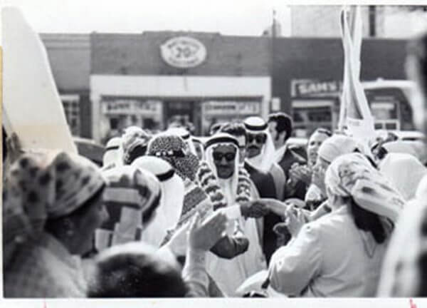 1976 the Sheik of Sharja, UAE Sultan Mohammad Bin al-Qasimi visits one of Chicago's first southside mosques