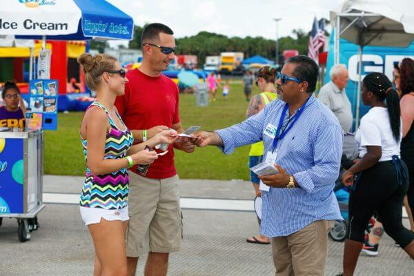 Tony Khoury, candidate for US Senate representing Florida, meeting with citizens at the Vero Beach Air Show.