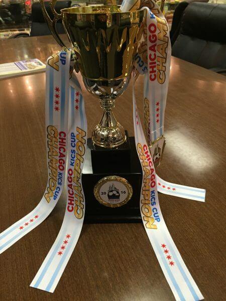 Chicago KICS 2016 International Soccer champions, Palestine United, trophy