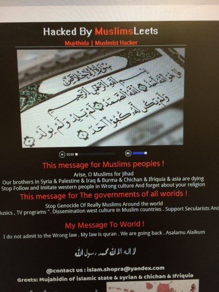 Message placed on AHRC and other Arab sites in hack that occurred on Sept. 15, 2016 in Dearborn