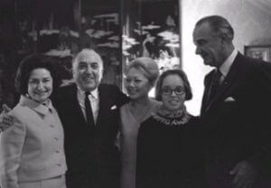 Lady Bird, Mr and Mathilde Krim, unknown female and President L.B. Johnson