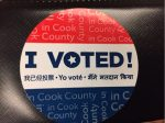 Voting sticker issued to voters in Cook County elections in 2016. Photo courtesy of Ray Hanania