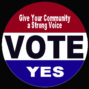 Vote Yes campaign button, Photo courtesy of Ray Hanania