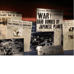 Old historic newspaper front pages and headlines displayed at the Museum at Pearl Harbor in Hawaii. Photo courtesy of Ray Hanania