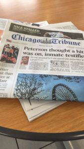 Copy of the Chicago Tribune Newspaper. Photo courtesy of Ray Hanania