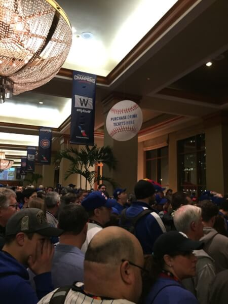 Cubs Fans jam the Sheraton Ballroom to listen to the Cubs being introduced with info on the next season. Photo courtesy Ray Hanania. Permission granted to republish with full attribution