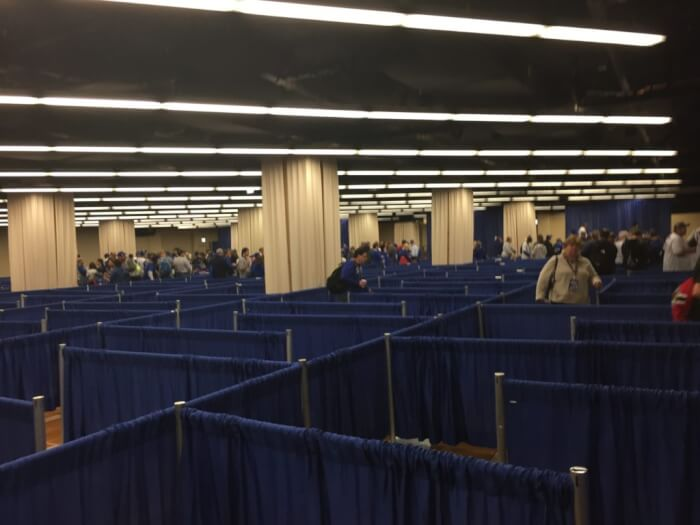 Fans at the 2017 Cubs Convention had to wait in long lines that snaked back and forth to get autographs from players. But only those fans with special vouchers could get autographs from the team players. Photo courtesy Ray Hanania. Permission granted to republish with full attribution
