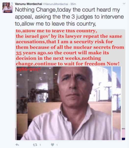 Mordechai Vanunu Reports Supreme Court Ruling at Twitter