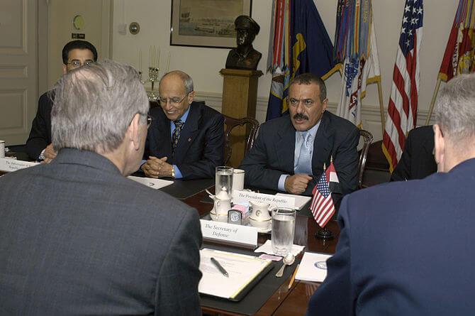 President Ali Abdallah Salih (center), of the ...