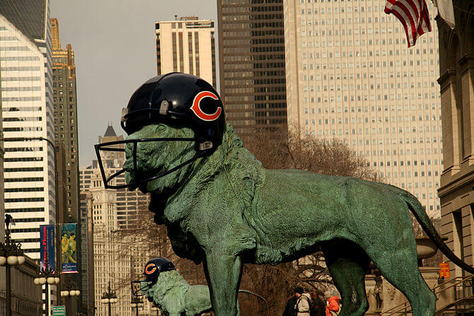 English: The Art Institute of Chicago's lions ...