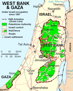 Palestine divided between Israel and the territories Israel occupied in 1967 with the growth of illegal Jewish settlements making peace nearly impossible. Map courtesy of wikipedia