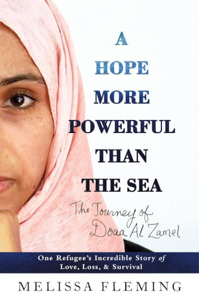 """Melissa Fleming's book, """"Hope More Powerful than the Sea"""" book cover"""