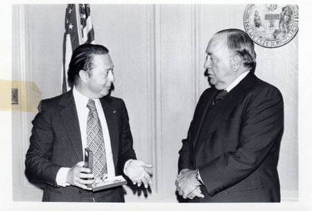 Mayor Richard J. Daley with the Ambassador of Morocco at City Hall in 1976. Photo courtesy of Ray Hanania