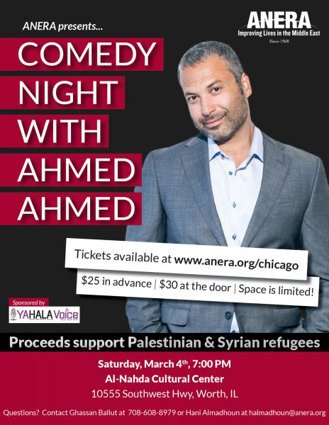 Comedian Ahmed Ahmed performs for refugee rights at ANERA event in Worth Illinois Saturday March 4, 2017. Ahmed has been leading the growth of standup comedy among American Arabs