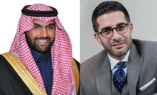 SRMG Chairman Prince Badr bin Abdullah bin Mohamad bin Farhan Al-Saud (left) and Faisal Abbas (right). Photo courtesy of the Arab News (www.ArabNews.com)