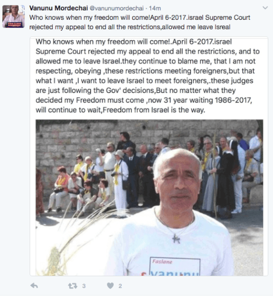 Vanunu Mordechai TWEETS his struggle for FREEDOM from Israel