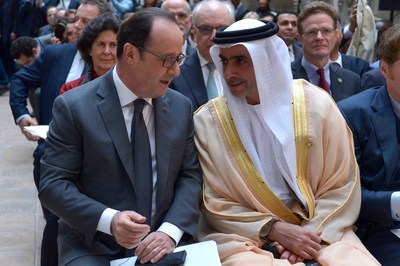 UAE and France reunite for International Alliance for Protection of Heritage in Conflict Areas. UAE Sheikh Saif bin Zayed Al Nahyan, and French President Francois Hollande. Photo courtesy of PR News Wire