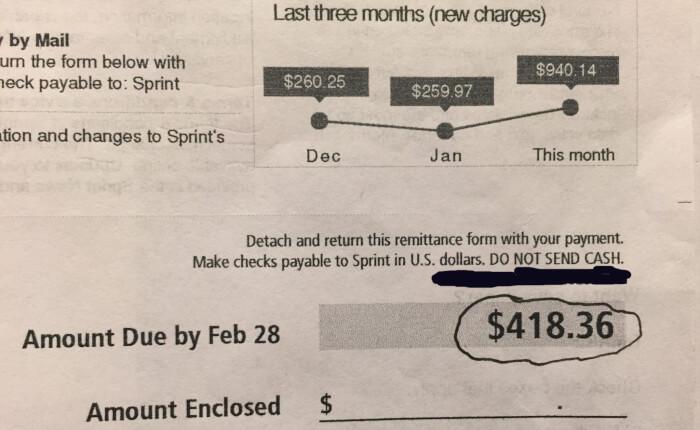 Sprint cell phone bill. Photo courtesy of Ray Hanania