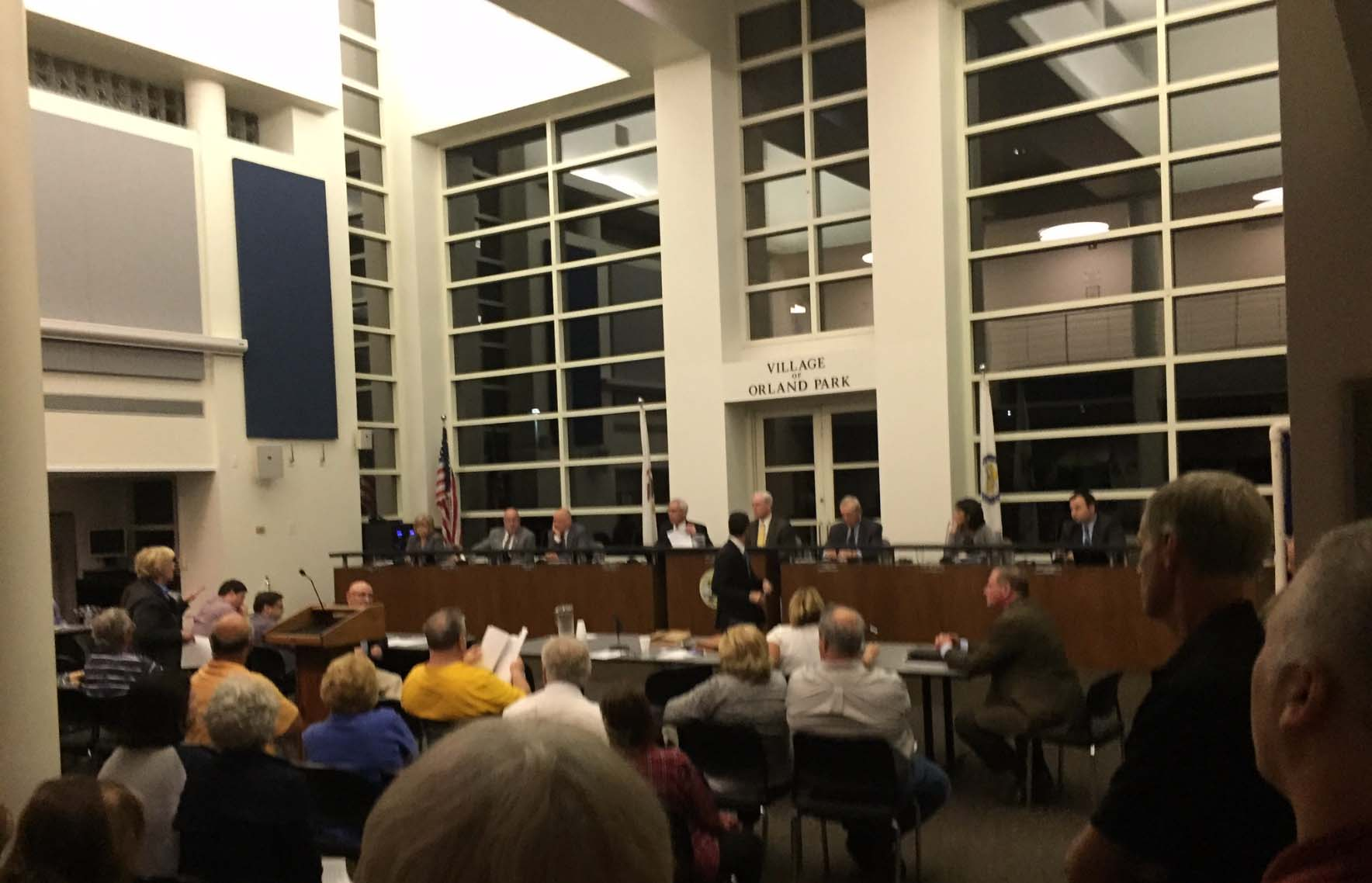About 100 Residents of Orland Park filled the board meeting room Monday Oct. 17, 2016 to protest increasing Mayor Dan McLaughlin's salary 375 percent from $40,000 to $150,000 a year. Photo courtesy of Ray Hanania.