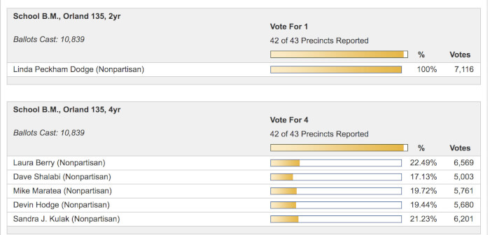 District 135 School Board election results, 42 of 43 precincts reported.