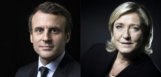 French presidential candidates Emmanuel Macron and Marine Le Pen. Photo courtesy of Abdennour Toumi