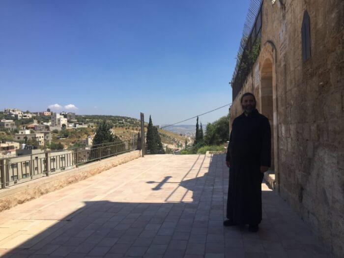 Outside St. George Church in Burqin, Palestine near Jenin. Photo courtesy of Dr. Maria Khoury.