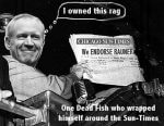Meme of the Chicago Sun-Times endorsing Bruce Rauner, who owned a major share in the newspaper. Now the newspaper seems to do his political bidding. (Former Truman photo courtesy of Wikipedia)