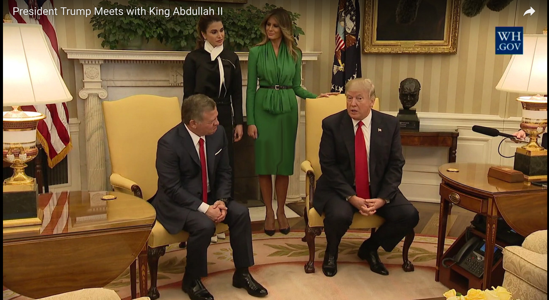 Jordan's King Abdullah II meets with President Donald Trump at the White House Wednesday April 5, 2017. Photo courtesy of the White House