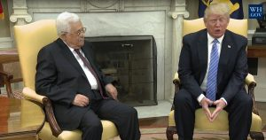 Palestinian President Mahmoud Abbas and President Donald J. Trump begin meetings at the White House to find a path to restart the peace process April 3, 2017. Photo courtesy of the White House