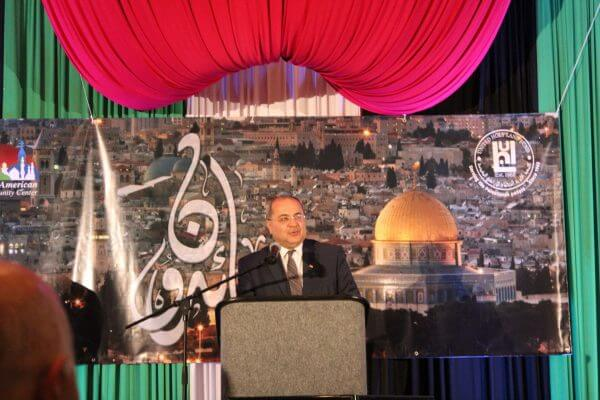 Israeli Deputy Speaker of the Knesset Ahmad Tibi addressing the dinner hosted by the United Holy Land Fund in Burr Ridge, a suburb of Chicago, Illinois USA on May 5, 2017. Photo courtesy of Ray Hanania