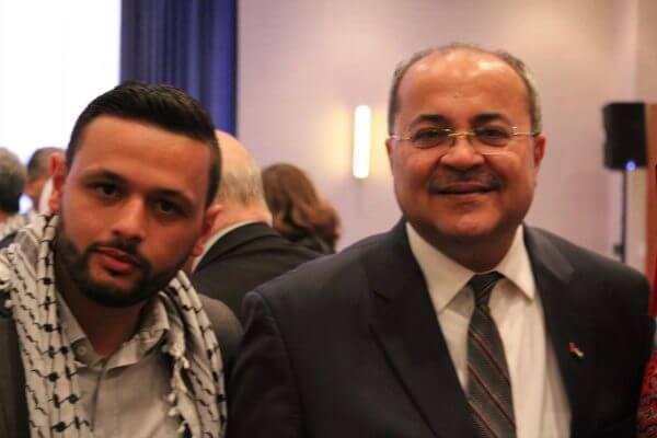 Israeli Knesset Deputy Speaker Ahmad Tibi with Arab Barghouti, the son of Palestinian Political Prisoner Marwan Barghouti . Tibi called for Barghouti's release from Israel's prison gulag system during a speech in Chicago's suburbs on May 5, 2017. Photo courtesy of Ray Hanania.