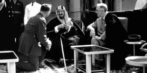 Saudi King Faisal with US President Franklin D. Roosevelt. Photo courtesy of the White House