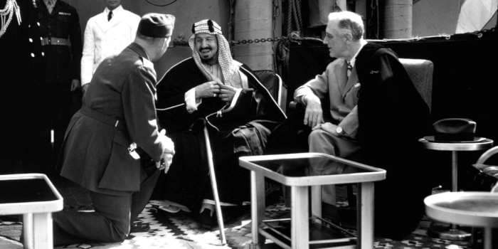 Saudi King AbdulAziz with US President Franklin D. Roosevelt. Photo courtesy of the White House