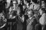 Egyptian President Anwar Sadat and Israeli Prime Minister Menachem Begin acknowledge applause during a Joint Session of Congress in which President Jimmy Carter announced the results of the Camp David Accords. (Photo credit: Wikipedia)