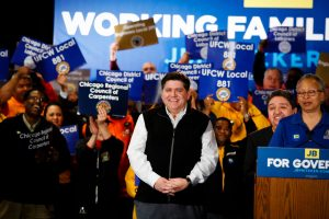 J.B. Pritzker from his election campaign Facebook Page at UFCW union endorsement.