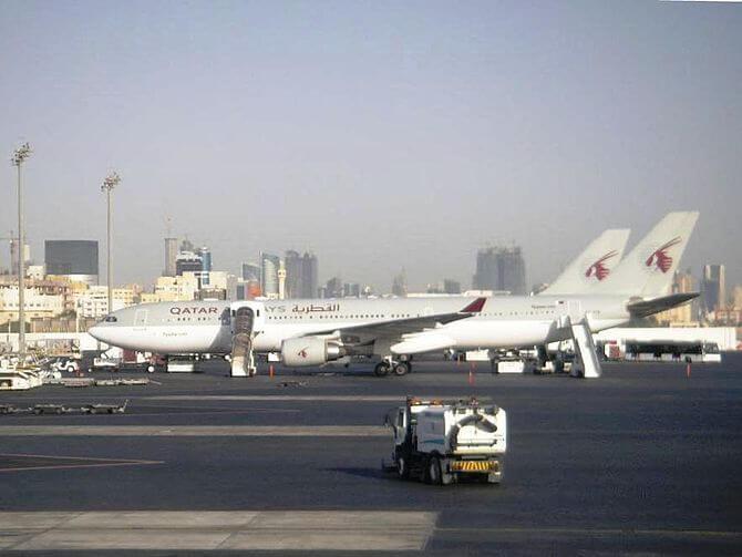 Qatar Airways at Doha International Airport.
