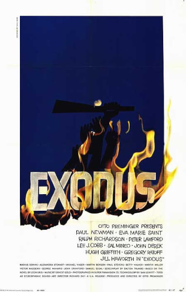 Poster for the movie Exodus, which defined American support for Israel. Photo courtesy of Wikipedia
