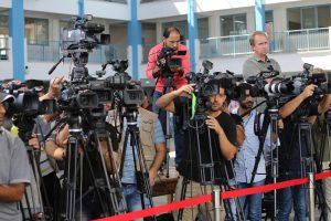 Journalists at the UN School in Beit Lahi, Gaza Strip wait for the press briefing by António Guterres, the ninth Secretary-General of the United Nations. Guterres visited Palestine August 29 and 30, 2017. Photo courtesy of Mohammed Asad.