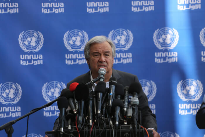 UN Secretary General Antonio Guterres addresses Palestinians at a press conference at the UN School in Beit Lahia, during his visit to the Gaza Strip on August 30, 2019. Guterres visited Palestine August 29 and 30, 2017. Photo courtesy of Mohammed Asad.
