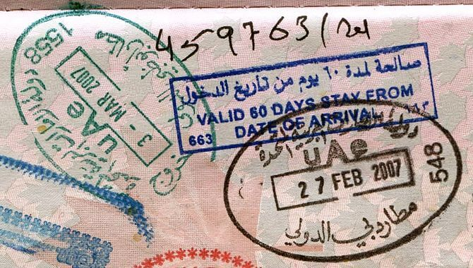 passport stamps from the UAE. Entry via Dubai, exit via Abu Dhabi (Photo credit: Wikipedia)